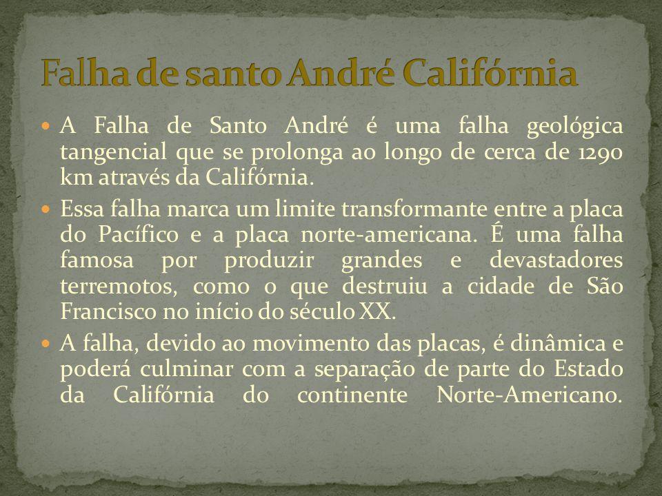  A Falha de Santo André é uma falha geológica tangencial que se prolonga ao longo de cerca de 1290 km através da Califórnia.  Essa falha marca um li