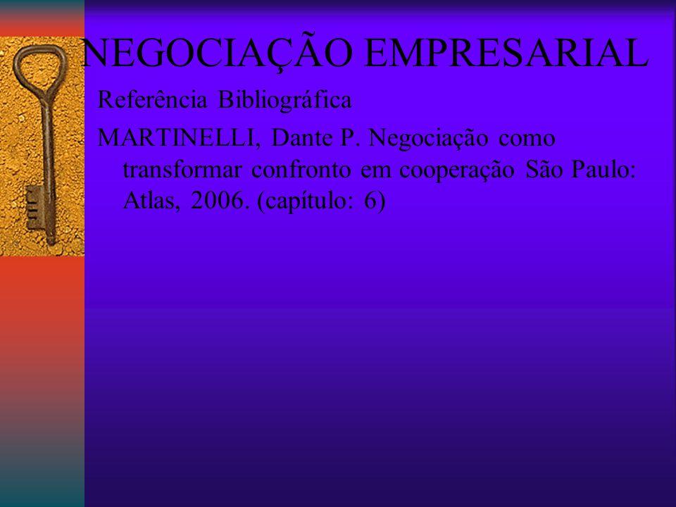 NEGOCIAÇÃO EMPRESARIAL Referência Bibliográfica MARTINELLI, Dante P.