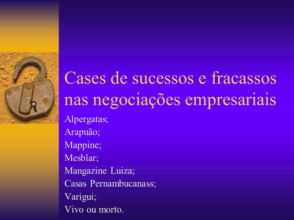 Cases de sucessos e fracassos nas negociações empresariais Alpergatas; Arapuão; Mappine; Mesblar; Mangazine Luiza; Casas Pernambucanass; Varigui; Vivo ou morto.
