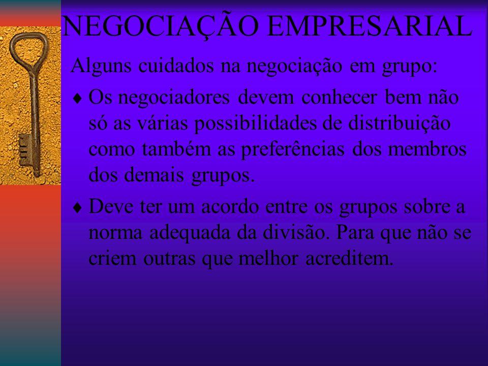 NEGOCIAÇÃO EMPRESARIAL Alguns cuidados na negociação em grupo:  Os negociadores devem conhecer bem não só as várias possibilidades de distribuição como também as preferências dos membros dos demais grupos.
