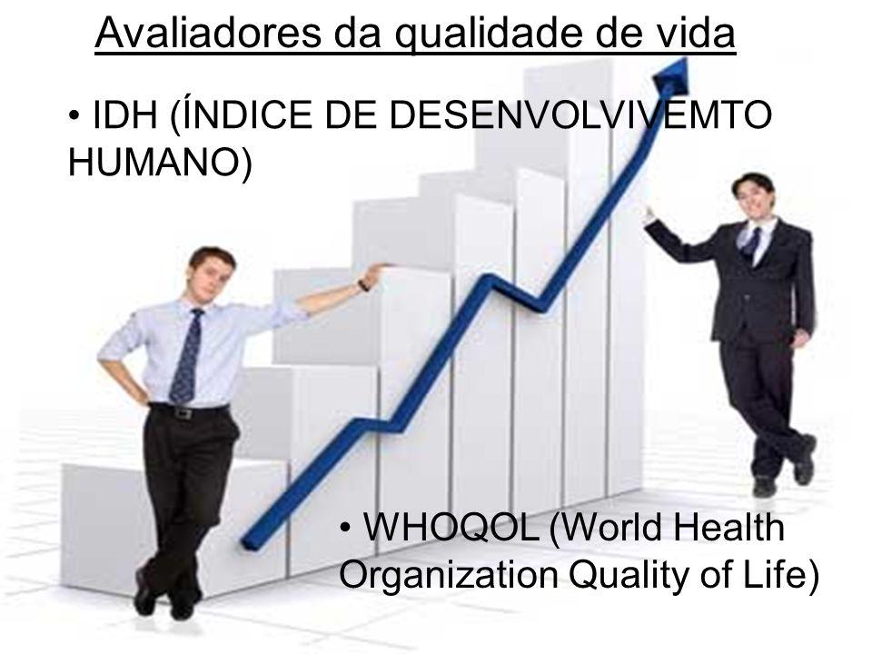 Avaliadores da qualidade de vida • IDH (ÍNDICE DE DESENVOLVIVEMTO HUMANO) • WHOQOL (World Health Organization Quality of Life)