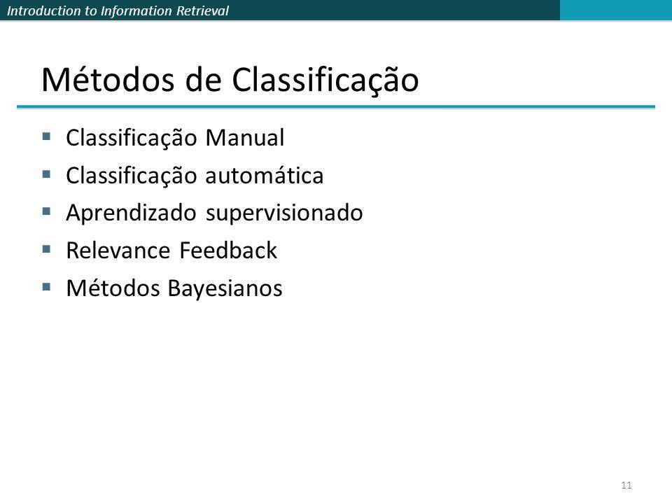Introduction to Information Retrieval Métodos de Classificação  Classificação Manual  Classificação automática  Aprendizado supervisionado  Releva