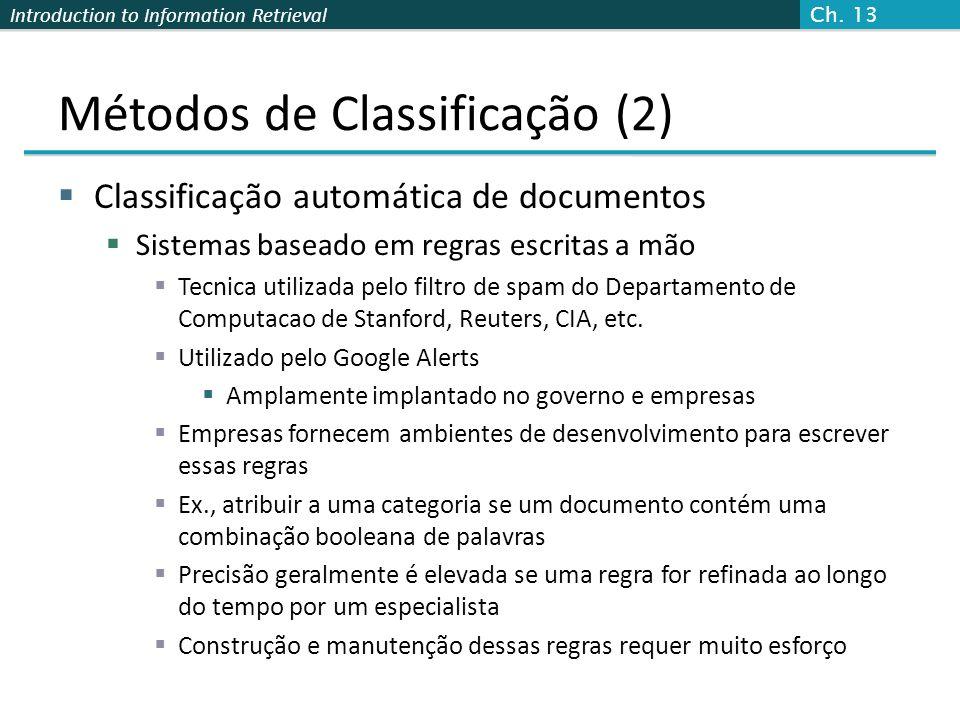 Introduction to Information Retrieval Métodos de Classificação (2)  Classificação automática de documentos  Sistemas baseado em regras escritas a mã