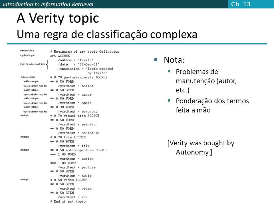Introduction to Information Retrieval A Verity topic Uma regra de classificação complexa  Nota:  Problemas de manutenção (autor, etc.)  Ponderação