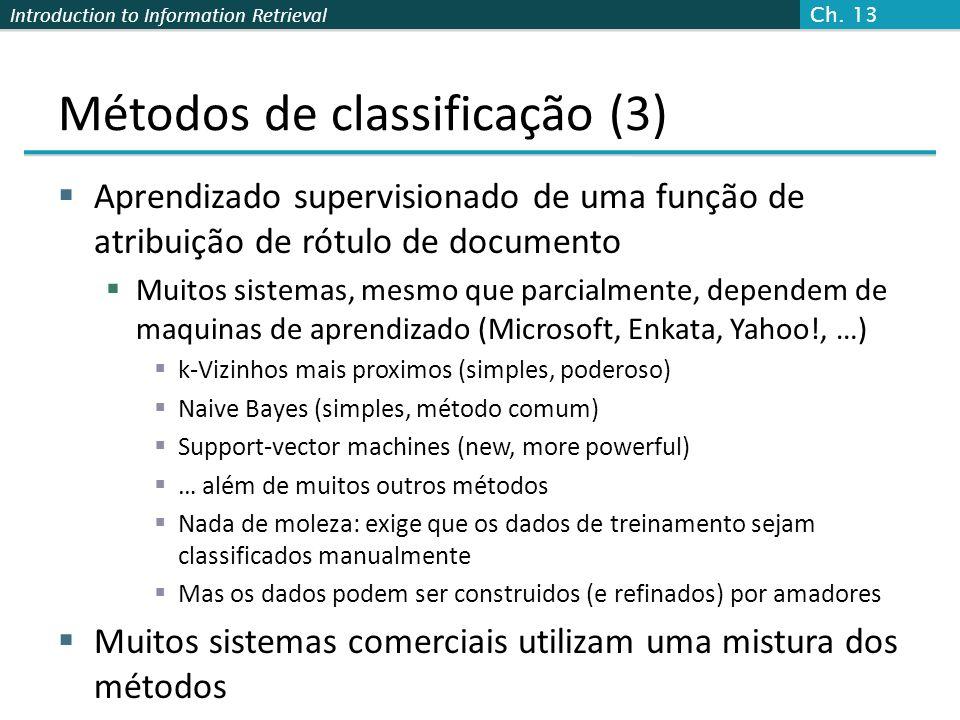 Introduction to Information Retrieval Métodos de classificação (3)  Aprendizado supervisionado de uma função de atribuição de rótulo de documento  M