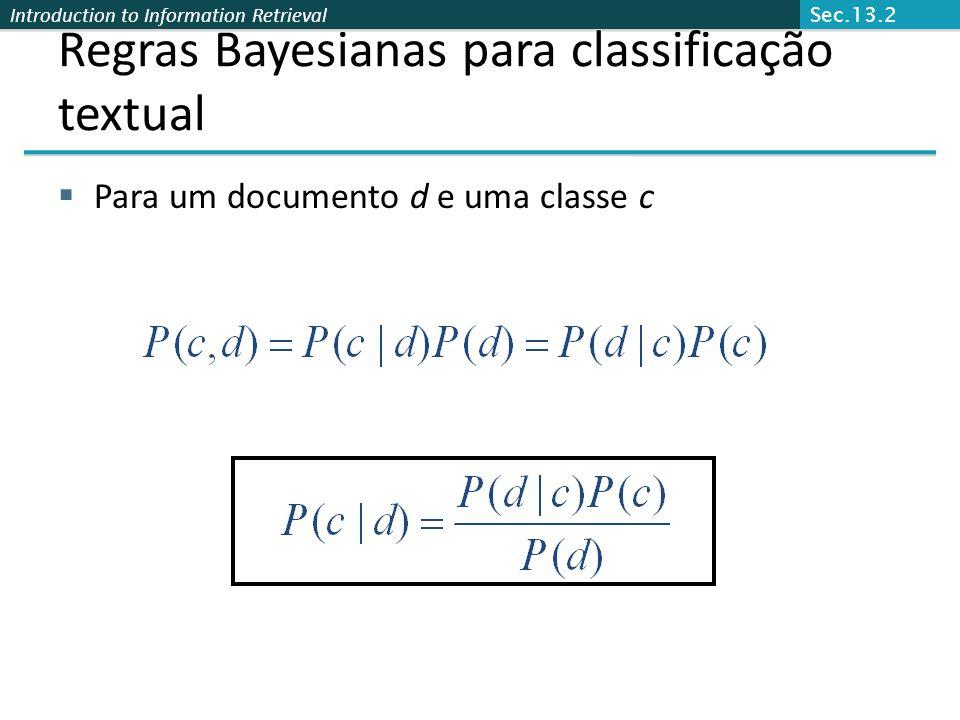 Introduction to Information Retrieval Regras Bayesianas para classificação textual  Para um documento d e uma classe c Sec.13.2