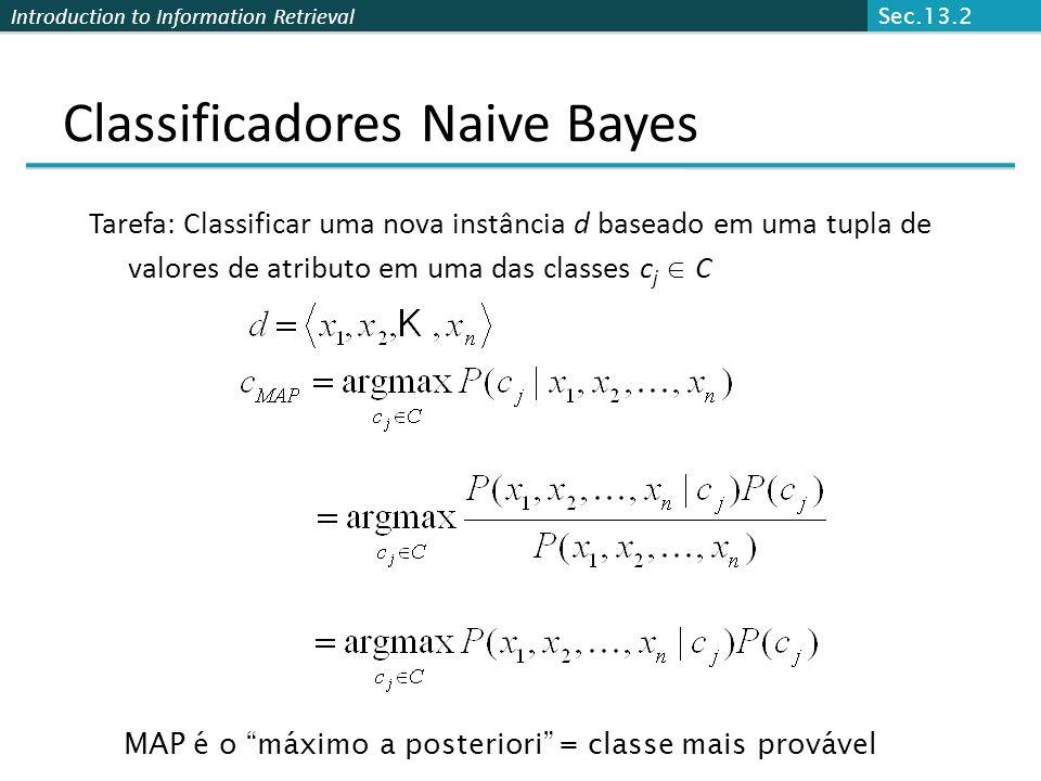 Introduction to Information Retrieval Classificadores Naive Bayes Tarefa: Classificar uma nova instância d baseado em uma tupla de valores de atributo