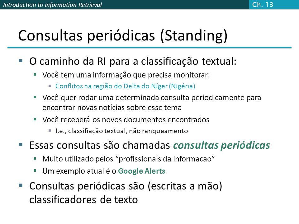 Introduction to Information Retrieval Consultas periódicas (Standing)  O caminho da RI para a classificação textual:  Você tem uma informação que pr