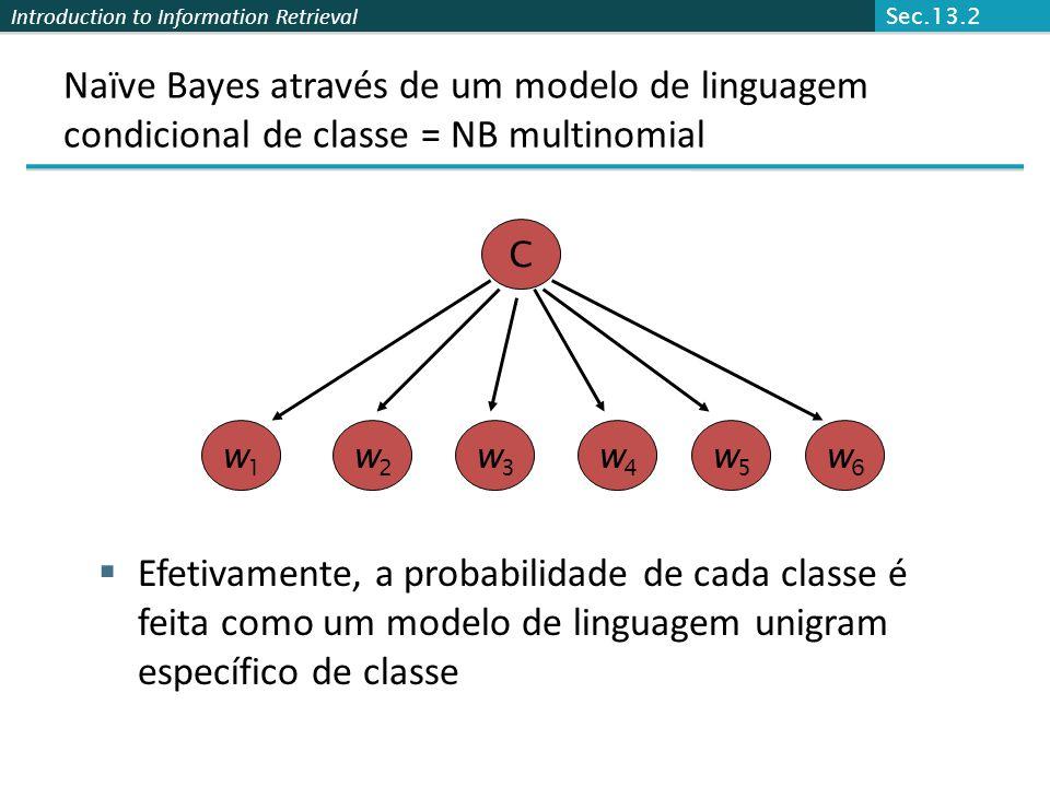Introduction to Information Retrieval Naïve Bayes através de um modelo de linguagem condicional de classe = NB multinomial  Efetivamente, a probabili