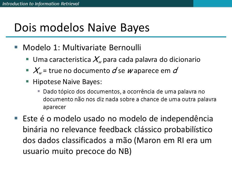 Introduction to Information Retrieval Dois modelos Naive Bayes  Modelo 1: Multivariate Bernoulli  Uma caracteristica X w para cada palavra do dicion