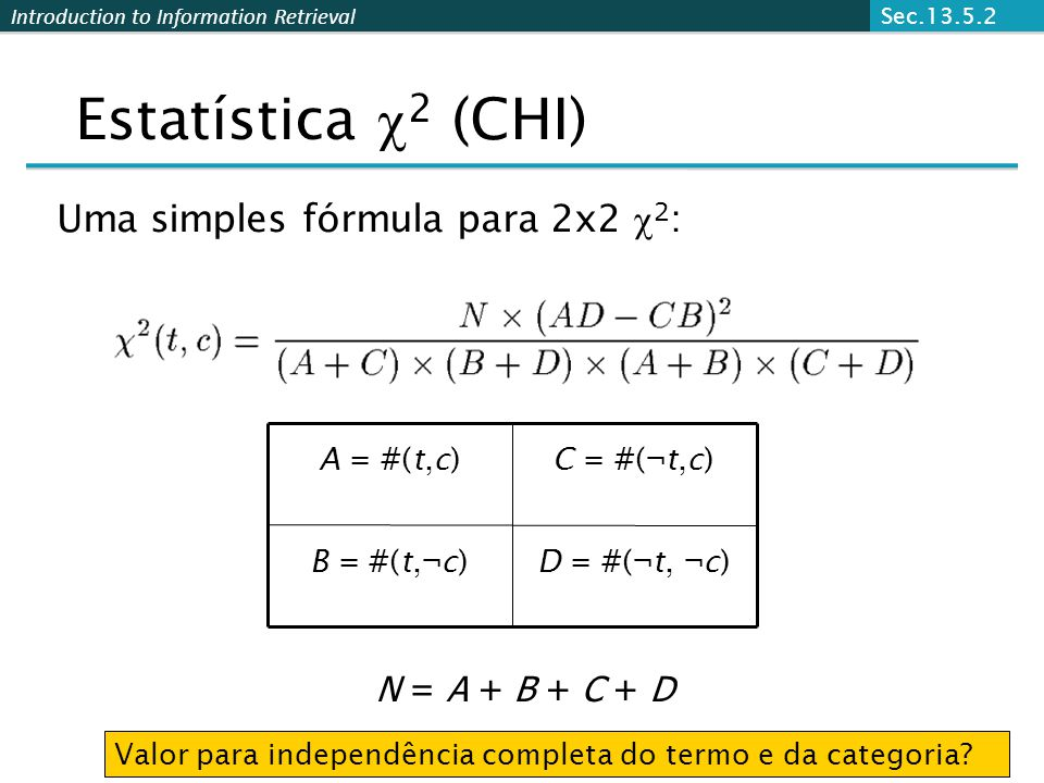 Introduction to Information Retrieval Uma simples fórmula para 2x2  2 : Estatística  2 (CHI) N = A + B + C + D D = #(¬t, ¬c)B = #(t,¬c) C = #(¬t,c)A