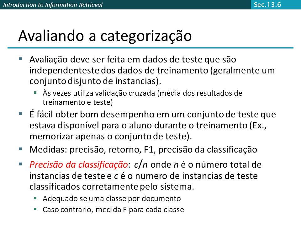 Introduction to Information Retrieval Avaliando a categorização  Avaliação deve ser feita em dados de teste que são independenteste dos dados de trei