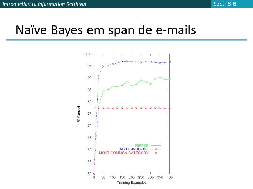 Naïve Bayes em span de e-mails Sec.13.6