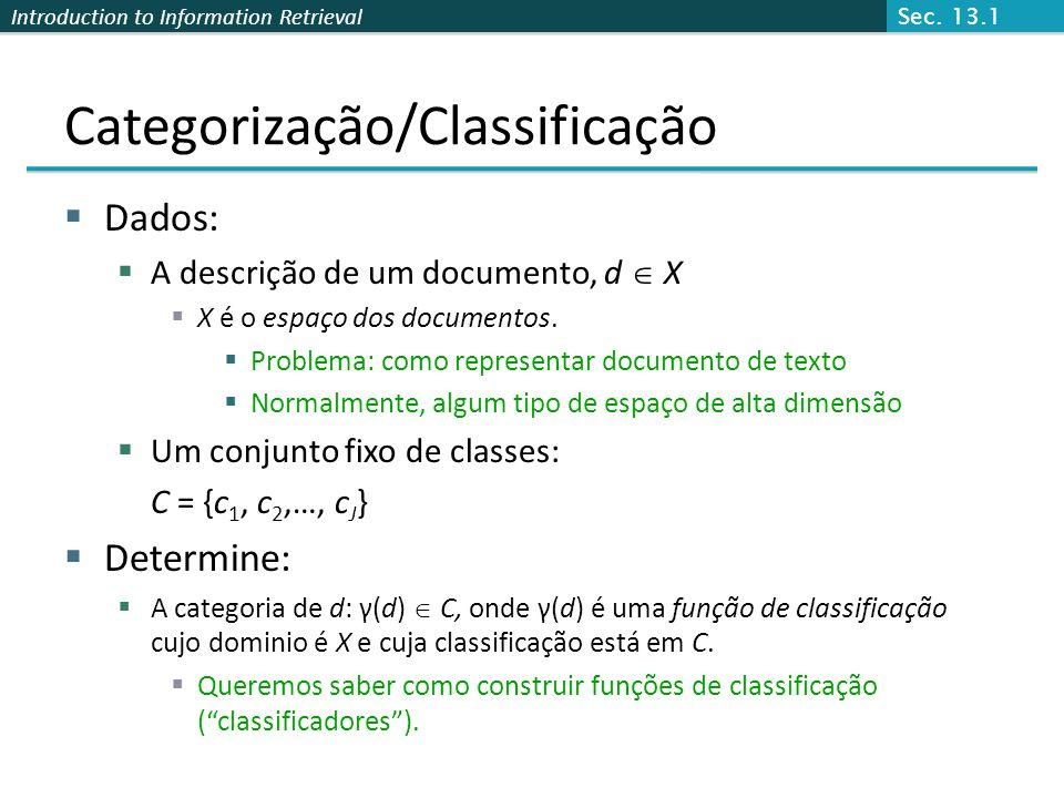 Introduction to Information Retrieval Categorização/Classificação  Dados:  A descrição de um documento, d  X  X é o espaço dos documentos.  Probl
