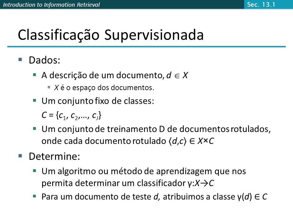 Introduction to Information Retrieval Classificação Supervisionada  Dados:  A descrição de um documento, d  X  X é o espaço dos documentos.  Um c