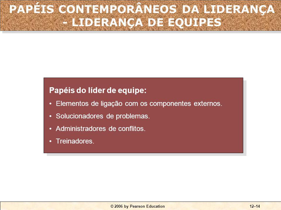 © 2006 by Pearson Education12–14 Papéis do líder de equipe: •Elementos de ligação com os componentes externos. •Solucionadores de problemas. •Administ