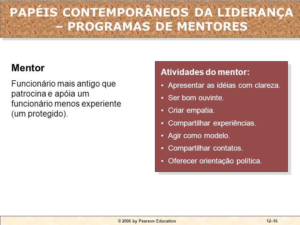 © 2006 by Pearson Education12–16 Atividades do mentor: •Apresentar as idéias com clareza. •Ser bom ouvinte. •Criar empatia. •Compartilhar experiências
