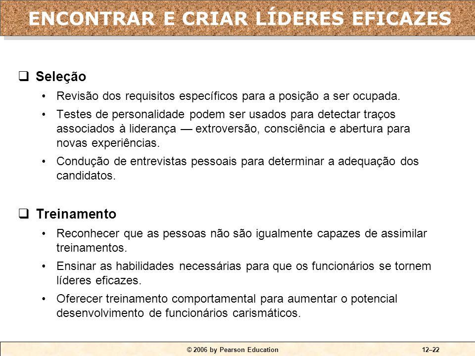 © 2006 by Pearson Education12–22  Seleção •Revisão dos requisitos específicos para a posição a ser ocupada. •Testes de personalidade podem ser usados