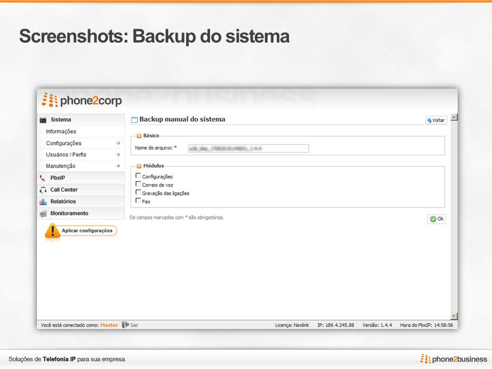 Screenshots: Backup do sistema