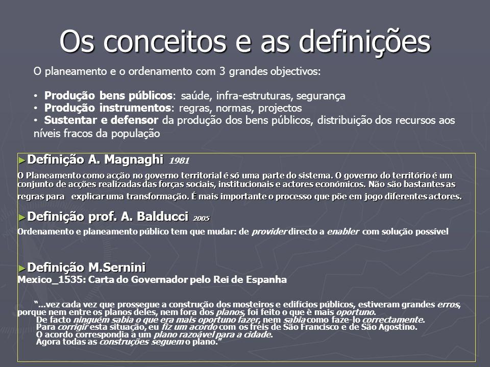 Os conceitos e as definições ► Definição A. Magnaghi ► Definição A. Magnaghi 1981 O Planeamento como acção no governo territorial é só uma parte do si