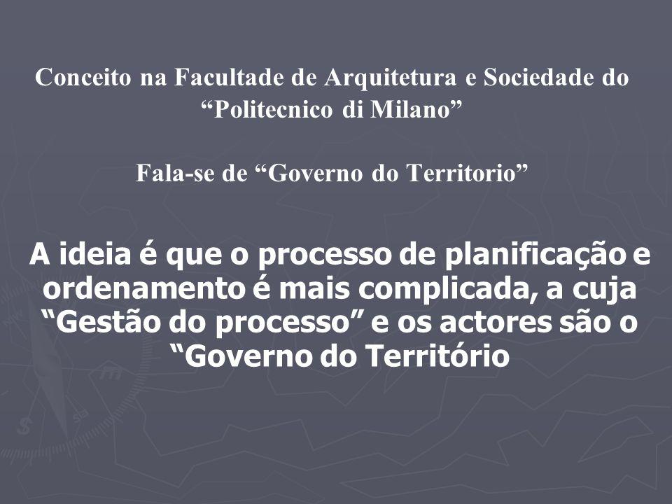 Conceito na Facultade de Arquitetura e Sociedade do Politecnico di Milano Fala-se de Governo do Territorio A ideia é que o processo de planificação e ordenamento é mais complicada, a cuja Gestão do processo e os actores são o Governo do Território