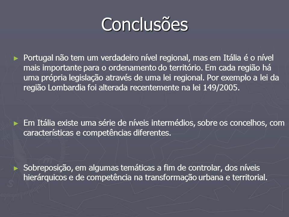 Conclusões ► ► Portugal não tem um verdadeiro nível regional, mas em Itália é o nível mais importante para o ordenamento do território. Em cada região