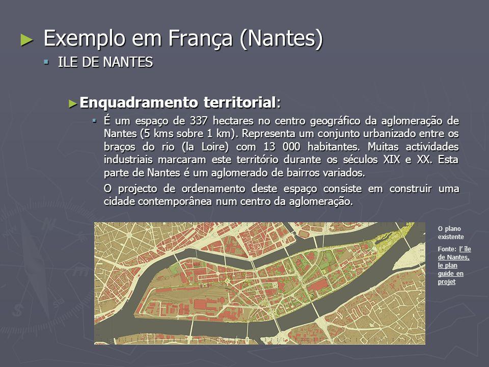 ► Exemplo em França (Nantes)  ILE DE NANTES ► Enquadramento territorial:  É um espaço de 337 hectares no centro geográfico da aglomeração de Nantes (5 kms sobre 1 km).