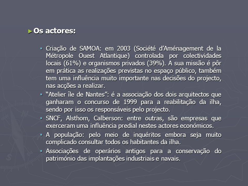 ► Os actores:  Criação de SAMOA: em 2003 (Société d'Aménagement de la Métropole Ouest Atlantique) controlada por colectividades locais (61%) e organismos privados (39%).
