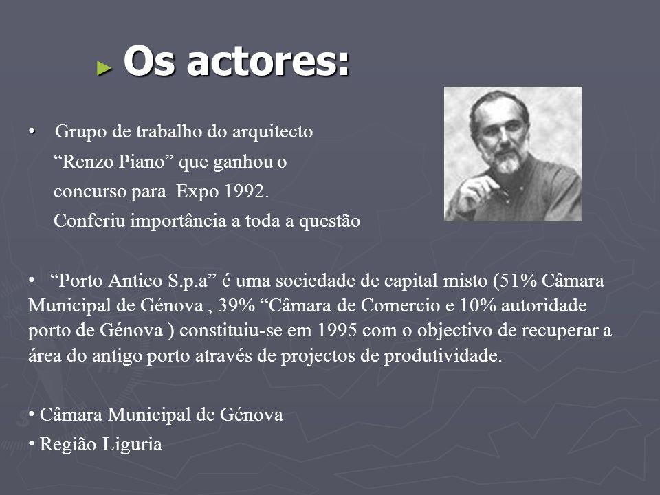 """► Os actores: • • Grupo de trabalho do arquitecto """"Renzo Piano"""" que ganhou o concurso para Expo 1992. Conferiu importância a toda a questão • • """"Porto"""