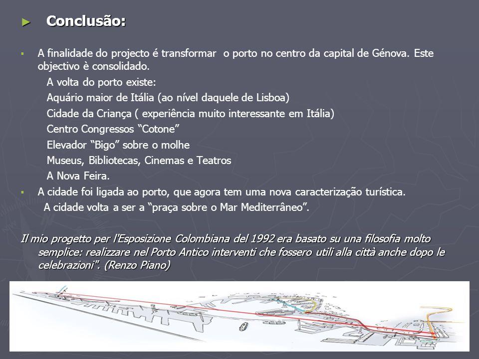 ► Conclusão:   A finalidade do projecto é transformar o porto no centro da capital de Génova. Este objectivo è consolidado. A volta do porto existe: