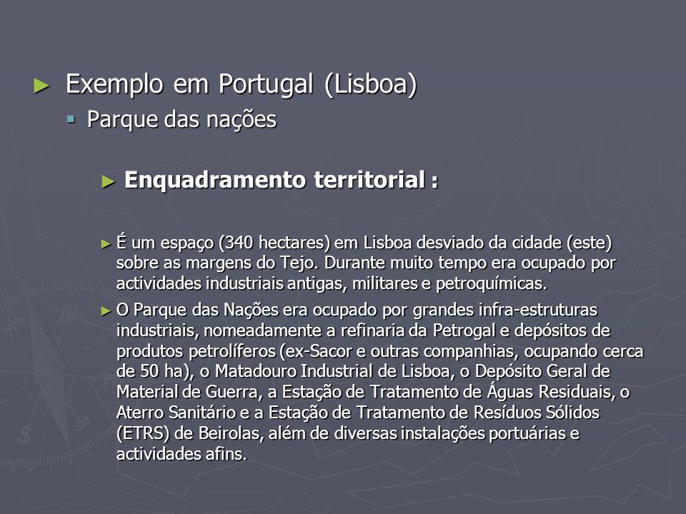 ► Exemplo em Portugal (Lisboa)  Parque das nações ► Enquadramento territorial : ► É um espaço (340 hectares) em Lisboa desviado da cidade (este) sobre as margens do Tejo.