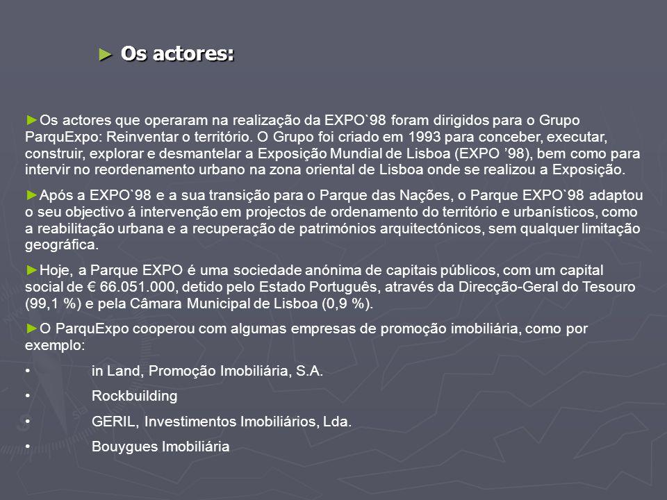 ► Os actores: ►Os actores que operaram na realização da EXPO`98 foram dirigidos para o Grupo ParquExpo: Reinventar o território. O Grupo foi criado em
