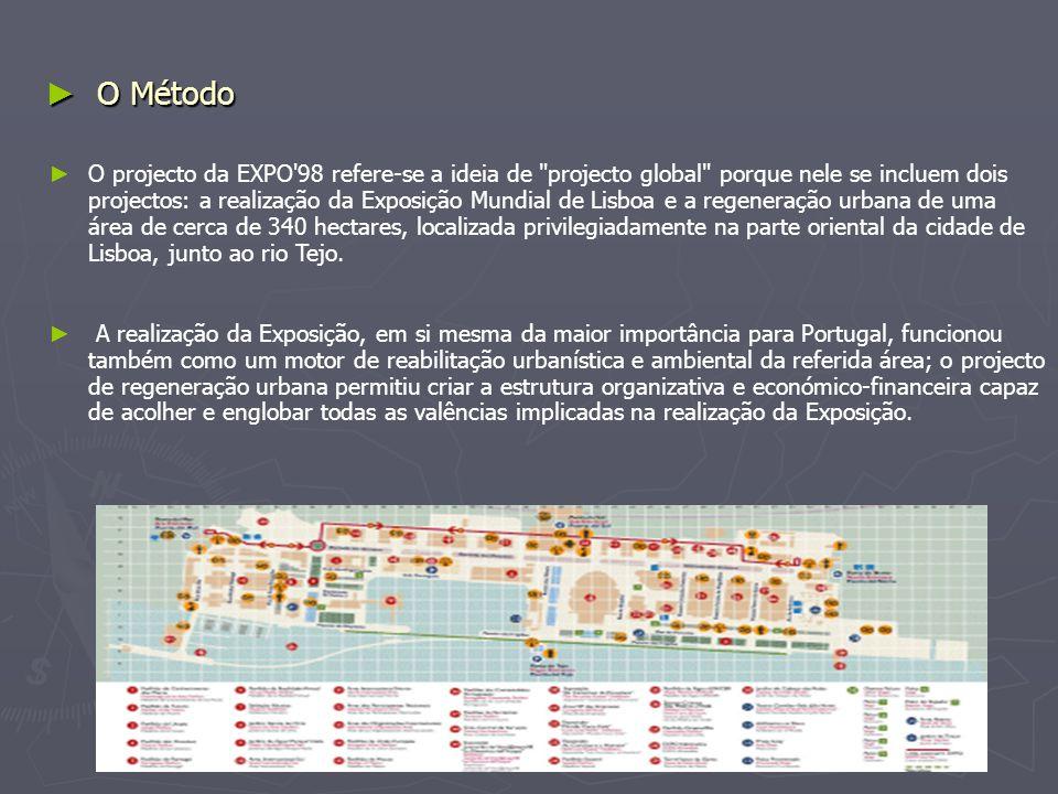 ► O Método ► O projecto da EXPO 98 refere-se a ideia de projecto global porque nele se incluem dois projectos: a realização da Exposição Mundial de Lisboa e a regeneração urbana de uma área de cerca de 340 hectares, localizada privilegiadamente na parte oriental da cidade de Lisboa, junto ao rio Tejo.