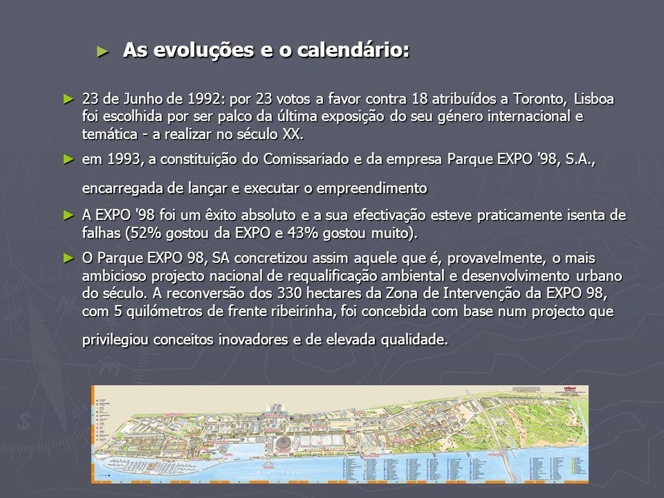► As evoluções e o calendário: ► 23 de Junho de 1992: por 23 votos a favor contra 18 atribuídos a Toronto, Lisboa foi escolhida por ser palco da última exposição do seu género internacional e temática - a realizar no século XX.