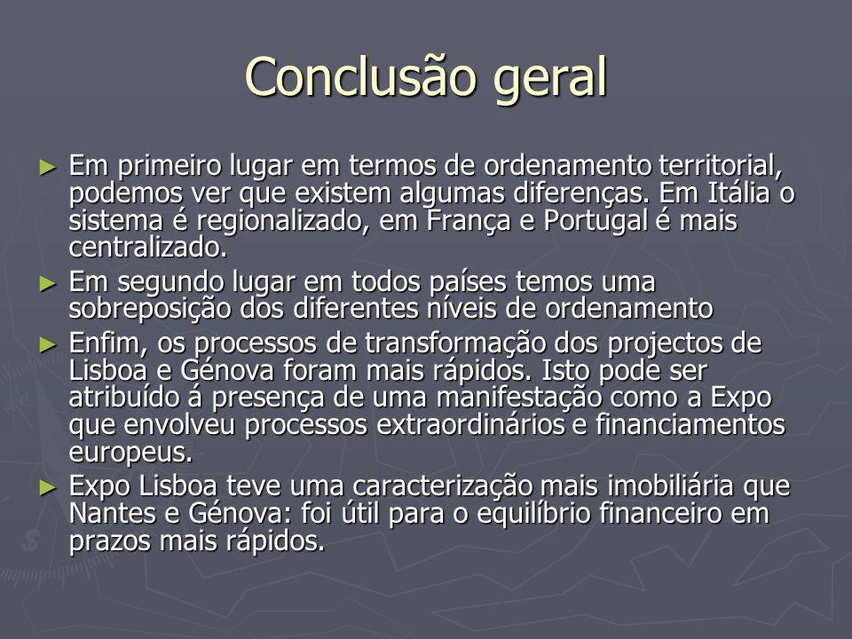Conclusão geral ► Em primeiro lugar em termos de ordenamento territorial, podemos ver que existem algumas diferenças. Em Itália o sistema é regionaliz