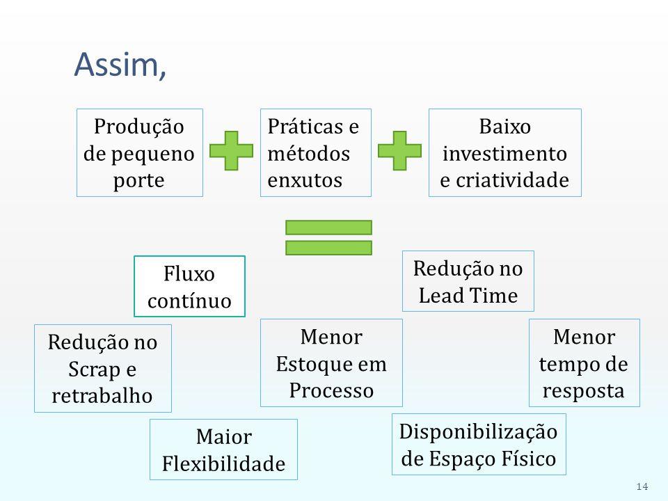 Assim, Produção de pequeno porte Práticas e métodos enxutos Baixo investimento e criatividade Fluxo contínuo Menor Estoque em Processo Redução no Lead