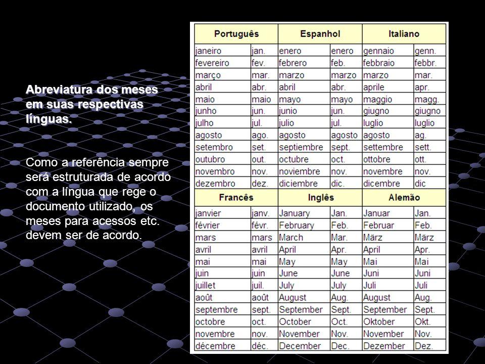 Abreviatura dos meses em suas respectivas línguas. Como a referência sempre será estruturada de acordo com a língua que rege o documento utilizado, os