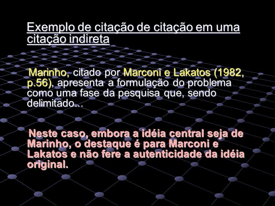 Exemplo de citação de citação em uma citação indireta Exemplo de citação de citação em uma citação indireta Marinho, citado por Marconi e Lakatos (198