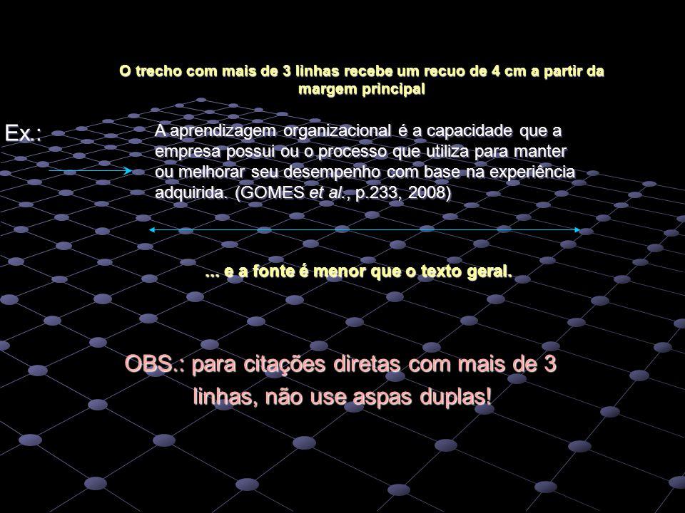 Ex.: OBS.: para citações diretas com mais de 3 OBS.: para citações diretas com mais de 3 linhas, não use aspas duplas! linhas, não use aspas duplas! A
