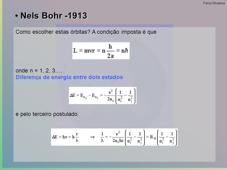 • Nels Bohr -1913 1.O elétron pode mover-se ao redor do núcleo, em certas órbitas bem definidas; 2.