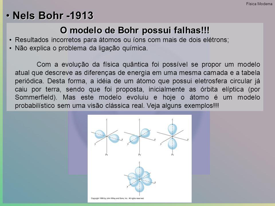 • Nels Bohr -1913 Como escolher estas órbitas.A condição imposta é que onde n = 1, 2, 3….