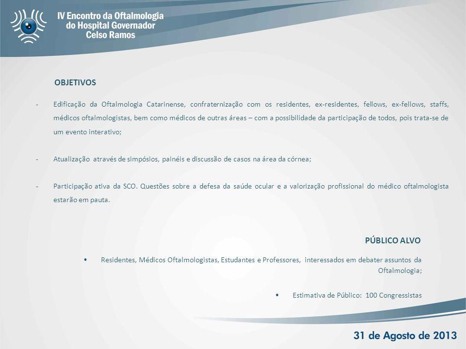OBJETIVOS -Edificação da Oftalmologia Catarinense, confraternização com os residentes, ex-residentes, fellows, ex-fellows, staffs, médicos oftalmologi
