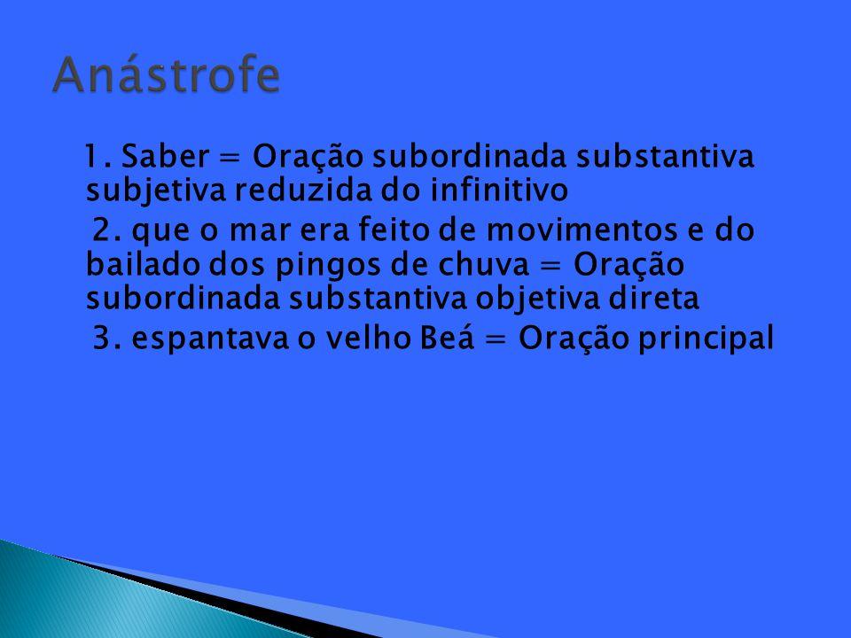 1.Saber = Oração subordinada substantiva subjetiva reduzida do infinitivo 2.
