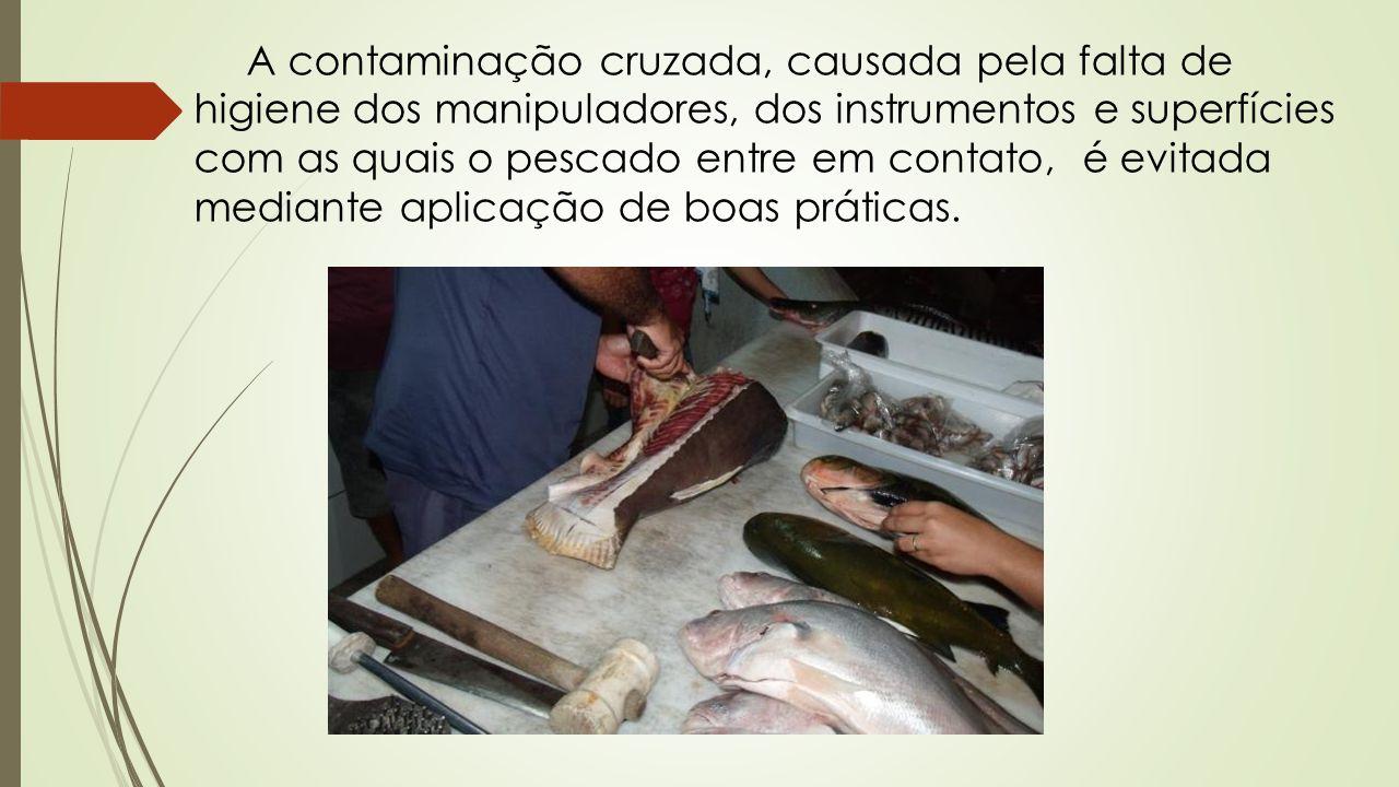 A contaminação cruzada, causada pela falta de higiene dos manipuladores, dos instrumentos e superfícies com as quais o pescado entre em contato, é evi