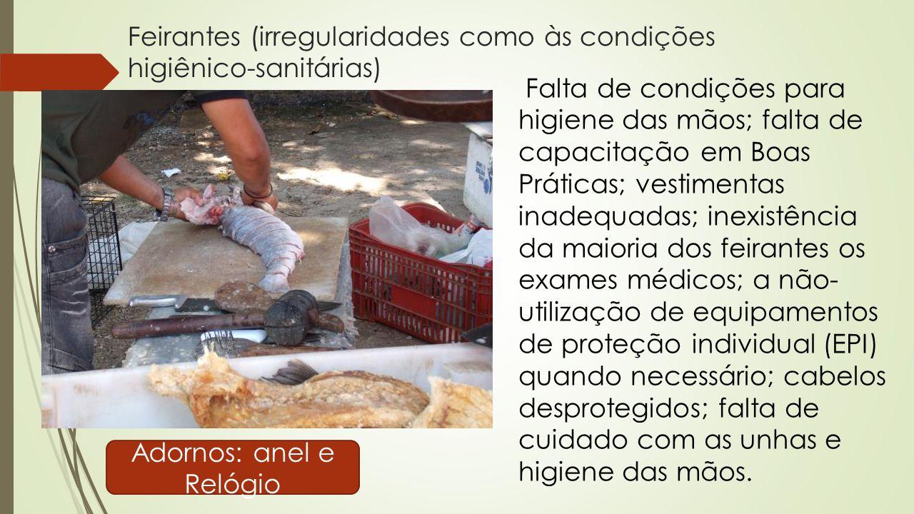 Feirantes (irregularidades como às condições higiênico-sanitárias) Adornos: anel e Relógio Falta de condições para higiene das mãos; falta de capacita