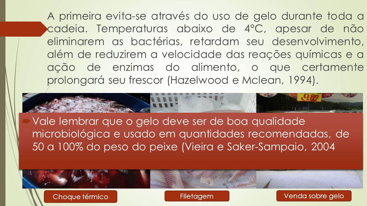  Segundo o Regulamento de Inspeção Industrial e Sanitária de Produtos de Origem Animal (RIISPOA), entende-se por fresco o pescado dado ao consumo sem ter sofrido qualquer processo de conservação, a não ser o gelo (RIISPOA, cap.