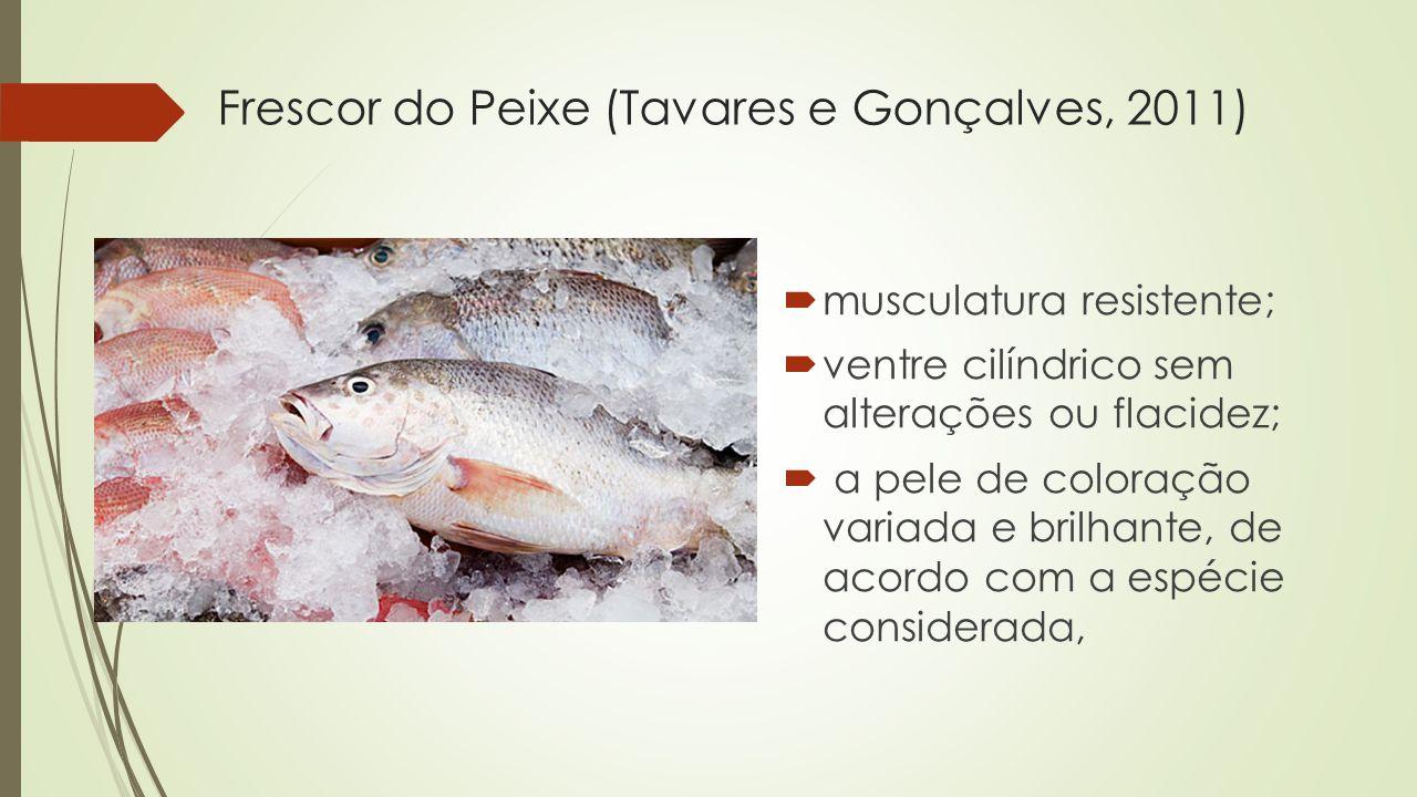Frescor do Peixe (Tavares e Gonçalves, 2011)  musculatura resistente;  ventre cilíndrico sem alterações ou flacidez;  a pele de coloração variada e