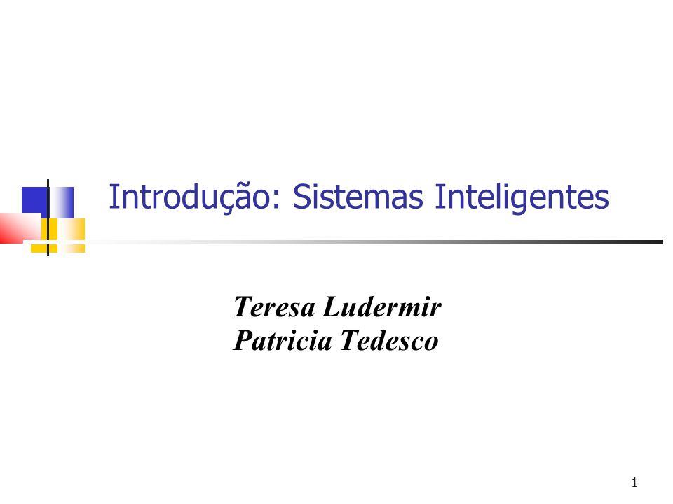 1 Introdução: Sistemas Inteligentes Teresa Ludermir Patricia Tedesco