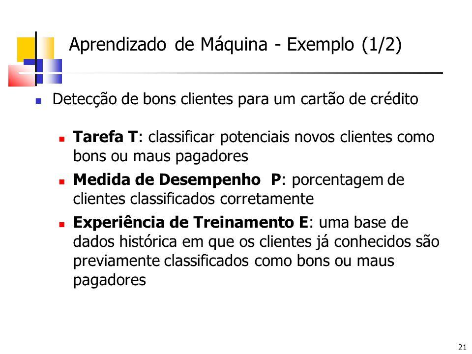 21 Aprendizado de Máquina - Exemplo (1/2)  Detecção de bons clientes para um cartão de crédito  Tarefa T: classificar potenciais novos clientes como