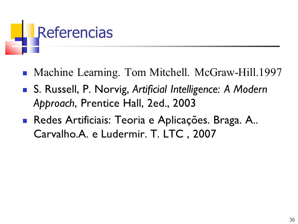 36 Referencias  Machine Learning.Tom Mitchell. McGraw-Hill.1997  S.